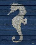 Antique Seahorse on Blue II