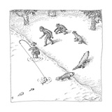 A fisherman wading in the water  catches a fish who precedes other other c - New Yorker Cartoon