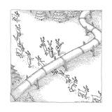 Reindeer in a conga line do the limbo beneath a pipeline - New Yorker Cartoon