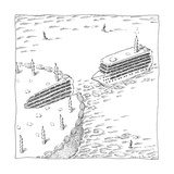 A Cruise Ship shaped like a wedge of birthday cake steers toward the birth - New Yorker Cartoon