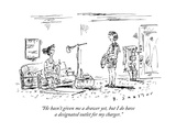 """""""He hasn't given me a drawer yet  but I do have a designated outlet for my"""" - New Yorker Cartoon"""