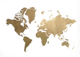 Large Gold Foil World Map Reproduction d'art par Jennifer Goldberger