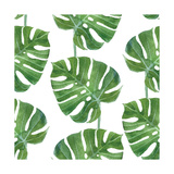 Watercolor Monstera Leaf Pattern