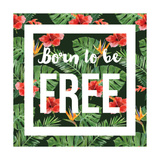 Hand Drawn Watercolor Tropical Background with Slogan