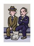 Two men share a cast - Cartoon