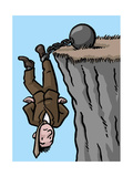A man is saved by his shackles - Cartoon