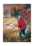 Autumn Hunters: with His Dogs  an Upland Hunter Readies His Shotgun Amid Fall Foliage