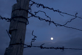 Barbed Wire Fence and the Full Moon in the Oglala National Grassland