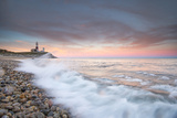 Waves Wash over Cobbles in Front of Montauk Point Lighthouse