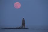 Both the Supermoon and Whaleback Lighthouse Illuminate the Night