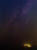 A Bright Meteor During Perseid Meteor Shower Streaks across the Night Sky