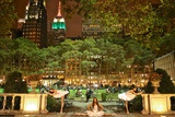 Three Ballerinas in White Tutus Dancing in Bryant Park at Night