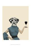 Dalmatian Wine Snob Reproduction d'art par Fab Funky