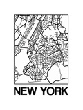 White Map of New York Reproduction d'art par NaxArt