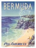 Bermuda - via Pan American World Airways Reproduction d'art par Loweree