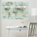 Timber World Map Wall Decal