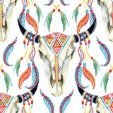 Watercolor Cow Skull