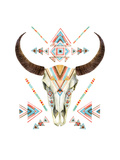Cow Skull in Tribal Style Animal Skull with Ethnic Ornament