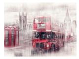 City-Art London Westminster Collage Reproduction d'art par Melanie Viola
