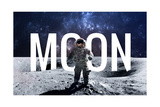 Brave Astronaut at the Spacewalk on the Moon this Image Elements Furnished by Nasa