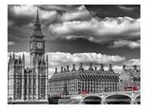 London Big Ben & Red Bus Reproduction d'art par Melanie Viola