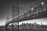 Classic San Francisco in Black and White  Bay Bridge at Night
