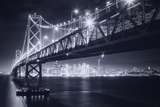 Classic Black and White Night in the City - San Francisco  California