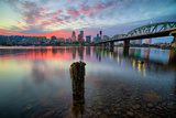Sunset River Scene  Hawthorne Bridge  Eastbank Esplande  Portland Oregon