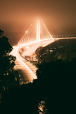 Peach Night Glow and Fog at Oakland Bay Bridge  Northern California
