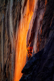 Firefall Detail  Horsetail Falls with Sun and Light  Yosemite National Park