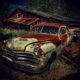 Old Retro 1960's Car Rusting Outdoors