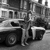 Mick Jagger 1967 with Aston Martin Car