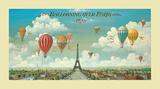 Ballooning over Paris Reproduction d'art par Isiah And Benjamin Lane