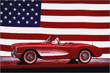 Corvette 1957 with US Flag