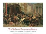 Les taureaux et les ours au marché Reproduction d'art par William H. Beard