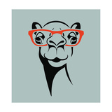 Funny Camel Wearing Glasses Vector Illustration for T Shirt  Poster  Print Design