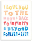 Love To Moon and Back Rainbow Typography