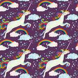 Watercolor Fairy Tale Seamless Pattern with Flying Unicorn  Rainbow  Magic Clouds and Rain