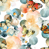 Abstract Watercolor Circles and Butterfly Pattern