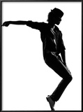 Full Length Silhouette Of A Young Man Dancer Dancing Funky Hip Hop R And B