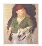 Mujer con Sombrero Rojo