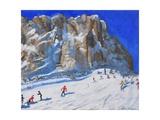 Skiing Down the Mountain  Selva Gardena