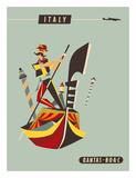 Italy - Qantas and BOAC Airlines - Venice - Gondola Giclée par Harry Rogers