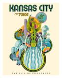 Kansas City - Fly TWA (Trans World Airlines) - The City of Fountains Giclée par David Klein