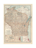 Map of Wisconsin United States Inset Map of Milwaukee and the Waukesha Lake Region