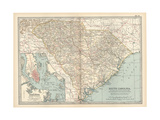 Map of South Carolina United States Inset Map of Charleston  Harbor and Vicinity