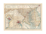 Map of Maryland and Delaware United States Inset Maps of District of Columbia