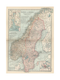 Map of Norway and Sweden Inset of Kristianiafjord and Vicinity  and Stockholm and Vicinity