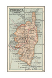 Plate 18 Inset Map of Corsica (Corse) Europe