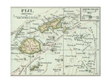 Inset Map of Fiji Islands (British) South Pacific Oceania